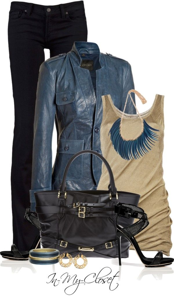 """""""Blue Lambskin Jacket"""" by in-my-closet on Polyvore"""
