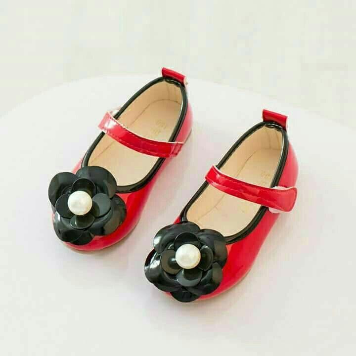 Sepatu Anak Perempuan Sepatu Pesta Anak Perempuan Bunga Merah