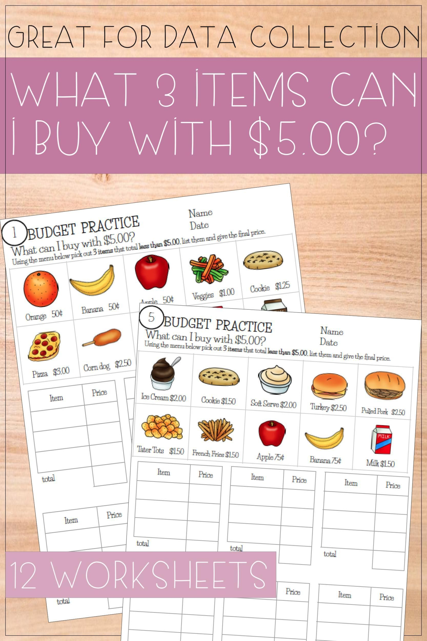 Budget Up To 5 Math Worksheets In 2020 Budgeting Math Worksheets Money Skills [ 2500 x 1666 Pixel ]