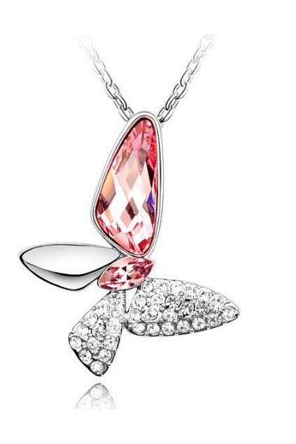 Pendant | Jewelry. Pink Austria Crystal Butterfly Pendant.  Love this!