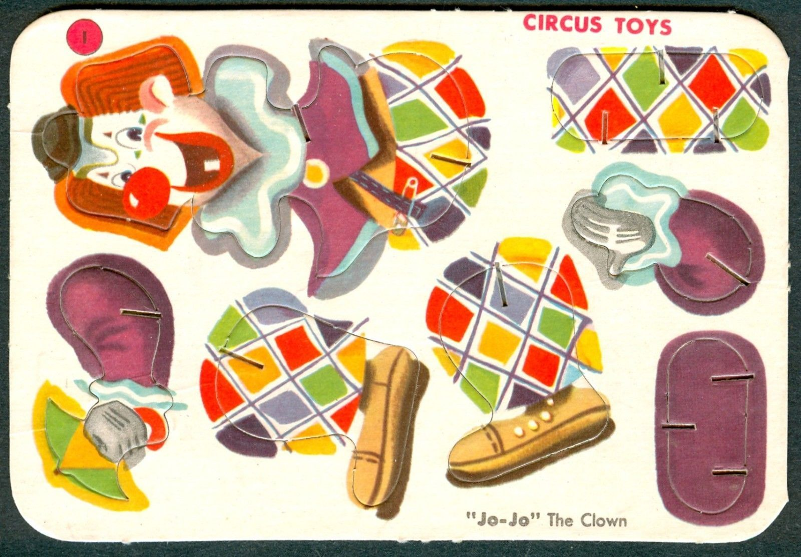 1956 Post Cereal Card Circus Toys Punch Out Jo Jo Clown F278 6 UNRECORDED Variat   eBay