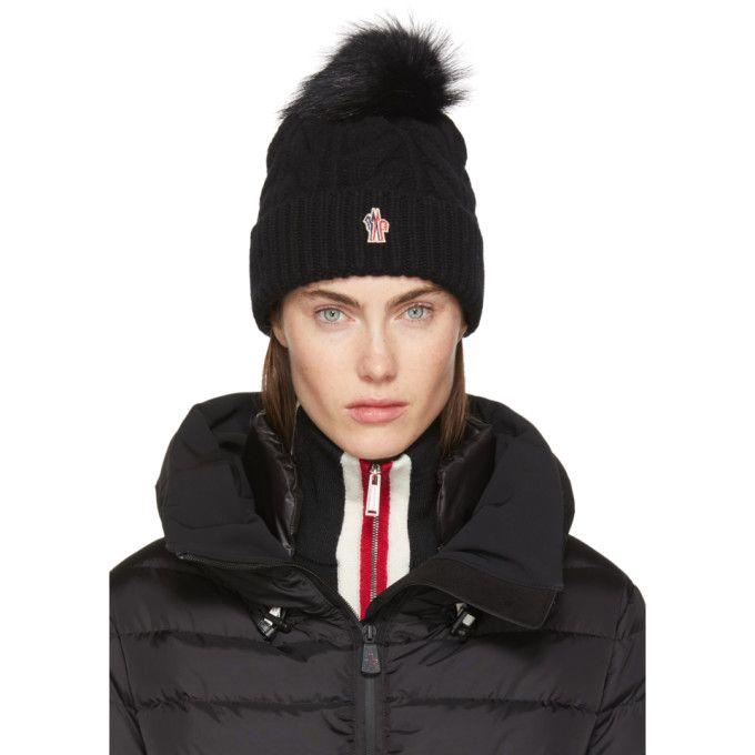 MONCLER GRENOBLE Black Cashmere   Fur Pom Pom Beanie.  monclergrenoble   147ce740dd8