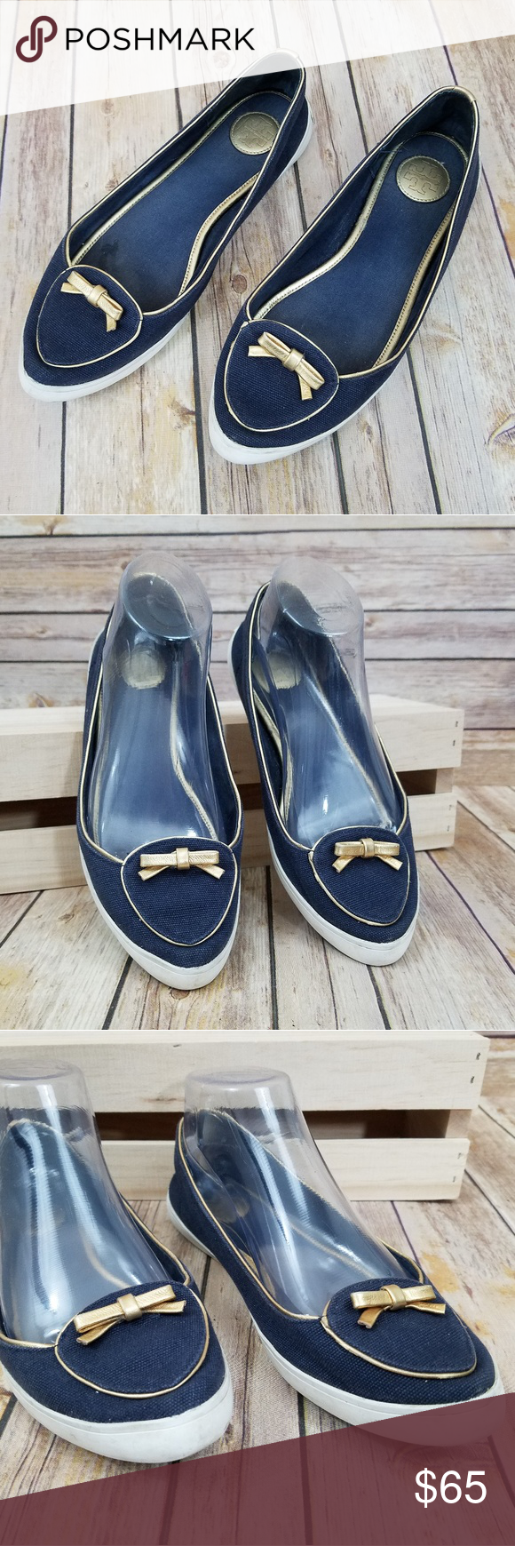 746ecd0f73d5e Tory Burch 8 Dakota Canvas Flats Shoes Women s size 8 Tory Burch Dakota  flats. Blue canvas with gold trim. Flats with sneaker style insole.
