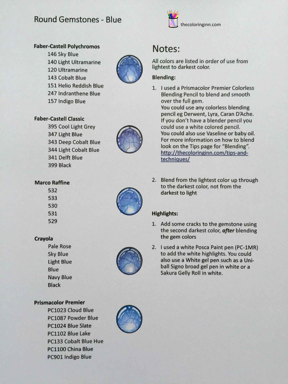 Round Gemstones Blue Color Palettes Metallic Colored