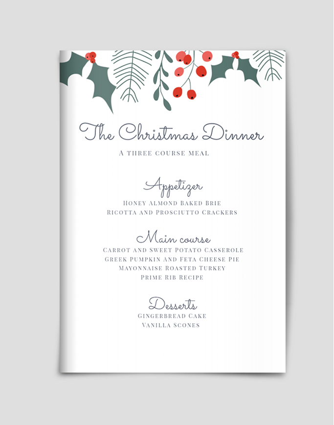 Christmas Menu.Christmas Dinner Menu Template Menu Templates Christmas