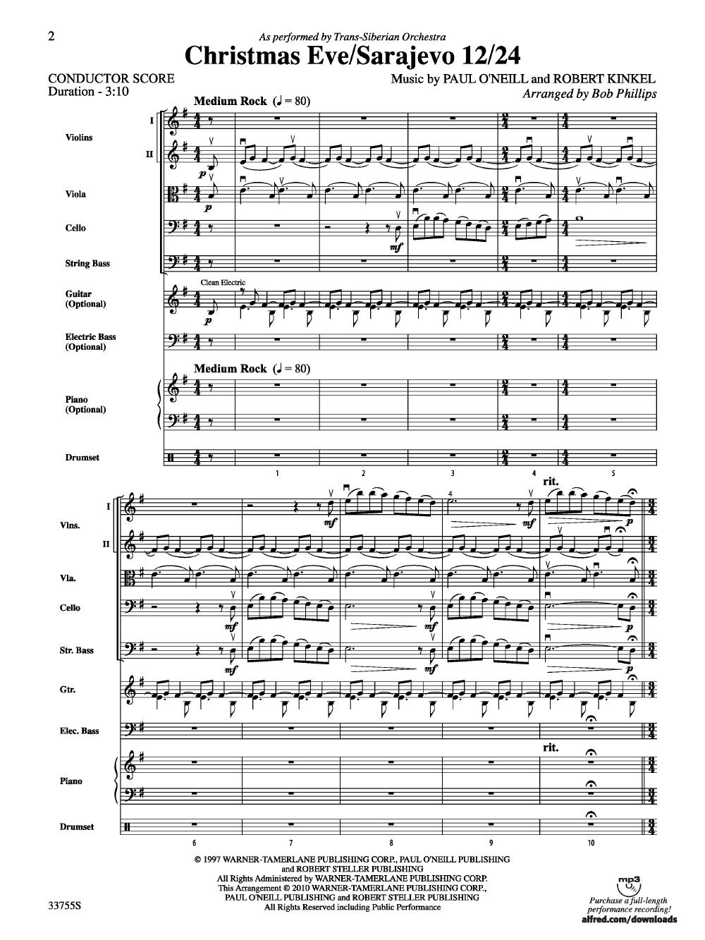 Christmas Eve X2f Sarajevo 12 X2f 24 Arr Bob Phillips J W Pepper Sheet Music Christmas Music Songs Trans Siberian Orchestra Christmas Christmas Poems