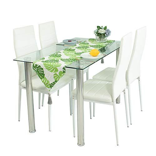 901be31e9bd7 Glass Dining Table Set and 4 White Faux Leather Thick Foam Ribbed High Back Dining  Chairs