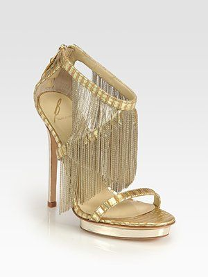 85894e19936 B Brian Atwood Cassiane Chain Fringe Platform Sandals For my mom. She never  would have worn them