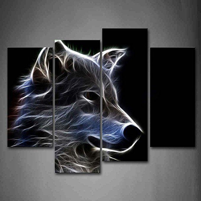 Grau Wolf Wandkunst Malerei Das Bild Druck Auf Leinwand Tier Kunstwerk  Bilder Für Zuhause Büro Moderne