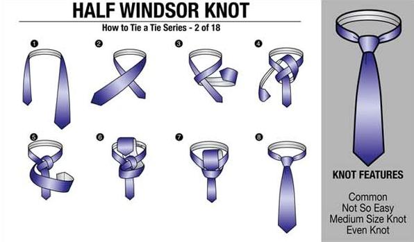 18 Clear & Succinct Ways To Wear A Tie   Half windsor