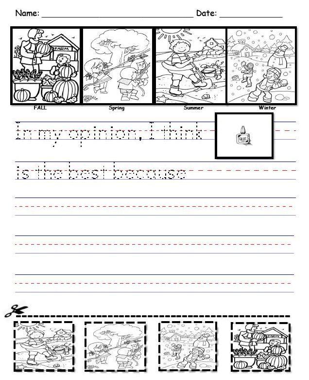 Seasons 1 Pdf 494k Kindergarten Writing Opinion Writing Teaching Writing