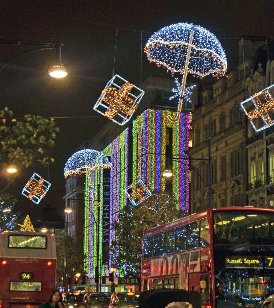 Outside Christmas Lights John Lewis: Christmas Lights Oxford Street London. Debenhams And John