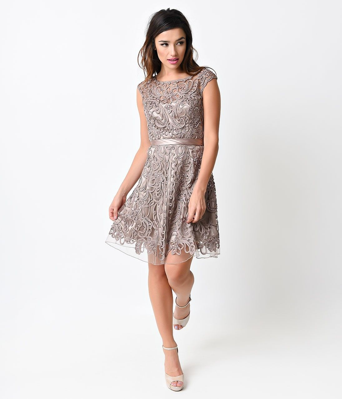 Mocha battenburg lace beaded short dress vintage inspired prom