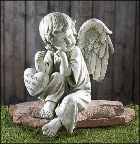 Small Angel Statues For Graves: Until We Meet Again Memorial Angel Holding Heart Grave