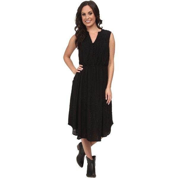 Lucky Brand Jaquard Midi Dress (Lucky Black) Women's Dress (€53) ❤ liked on Polyvore featuring dresses, multi, vintage style dresses, sleeveless midi dress, midi dress, sleeveless dress and fit and flare dress