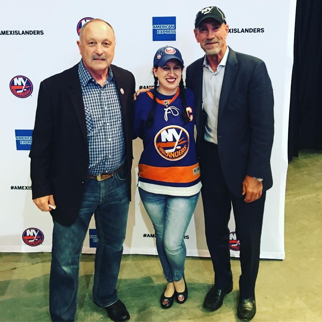 Guys! I am in hockey heaven.   #bleedblueandorange #letsgoislanders #newyorkislandershockey #newyorkislanders #driveforfive #bryantrottier #bobbynystrom #islandersroyalty #nhl #nhldraft #lifeisshortandsoami #eileensworld #hockey #hockeyislife #hockeylife #hockeygal #meetingmyheroes
