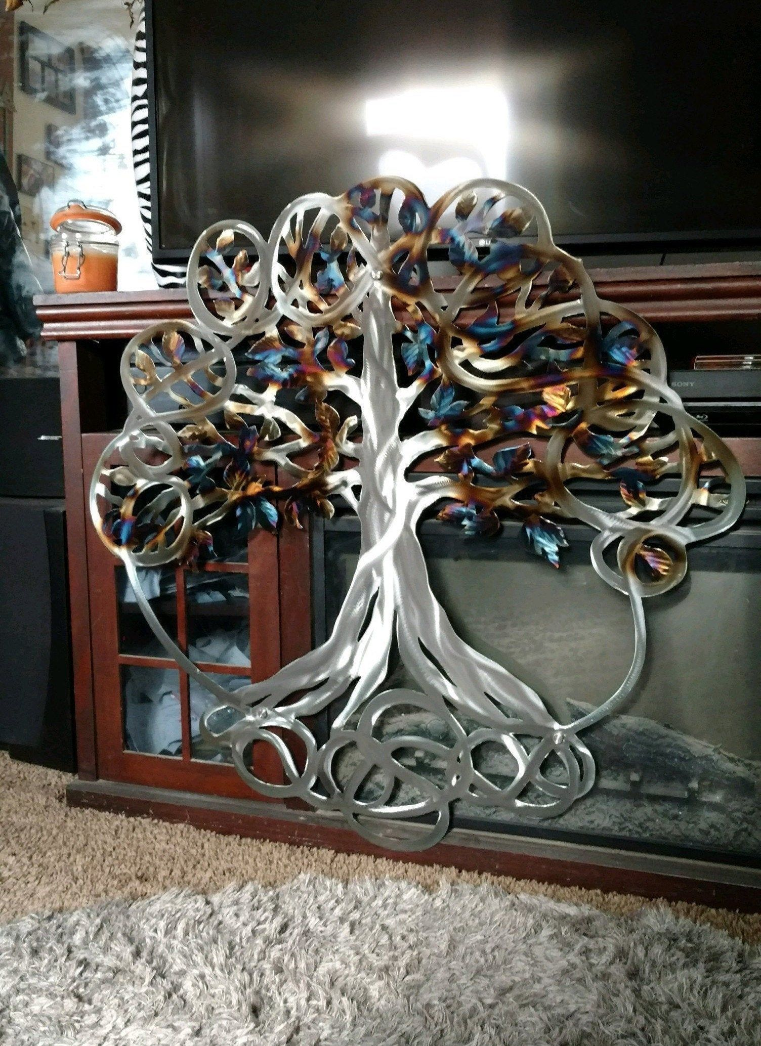 Outdoor Metal Tree Of Life Wall Hanging Tree Etsy Handmade