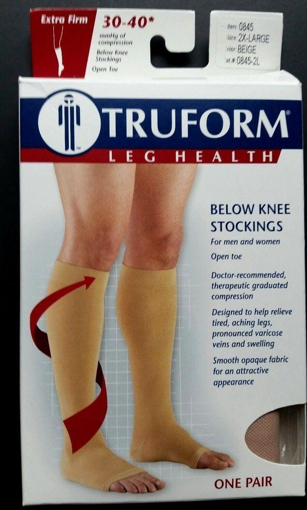 e44d5b4ef Truform 30-40 Below Knee Compression Stockings Open Toe Beige 2X Large 0845  2XL  Truform