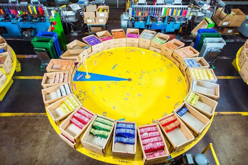 these pictures from inside a crayola factory are magical artsy