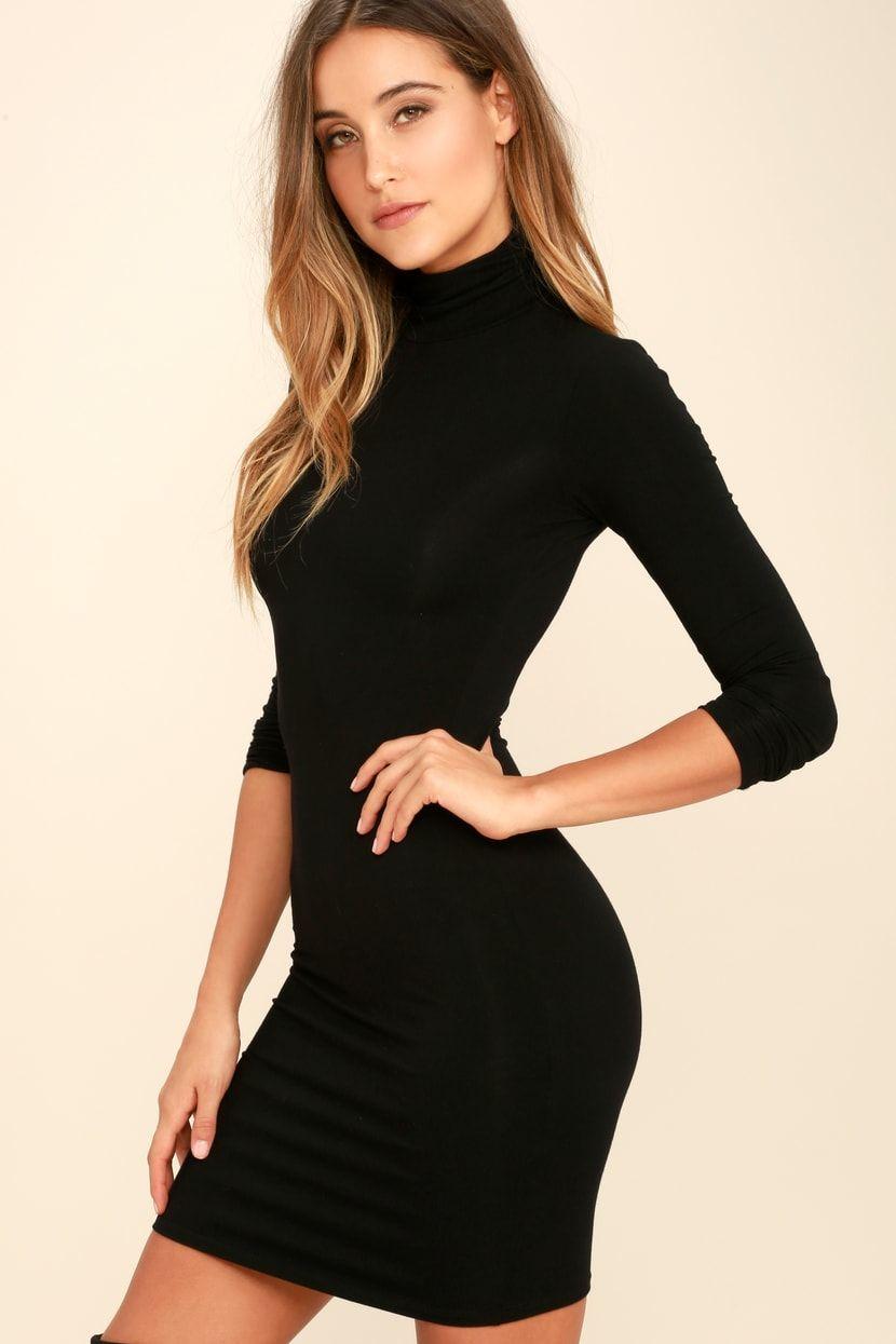 Black long sleeve bodycon dress t shirts