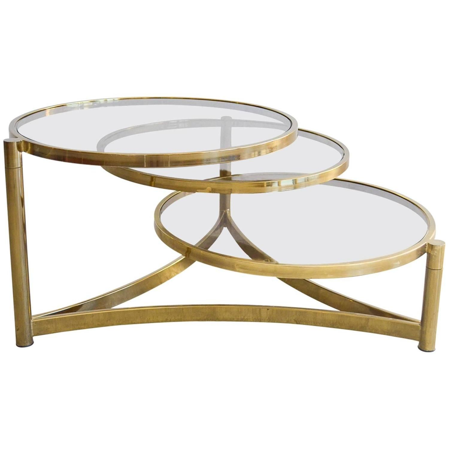 Milo Baughman Tri Level Brass And Glass Swivel Coffee Table   From A Unique  Collection Of