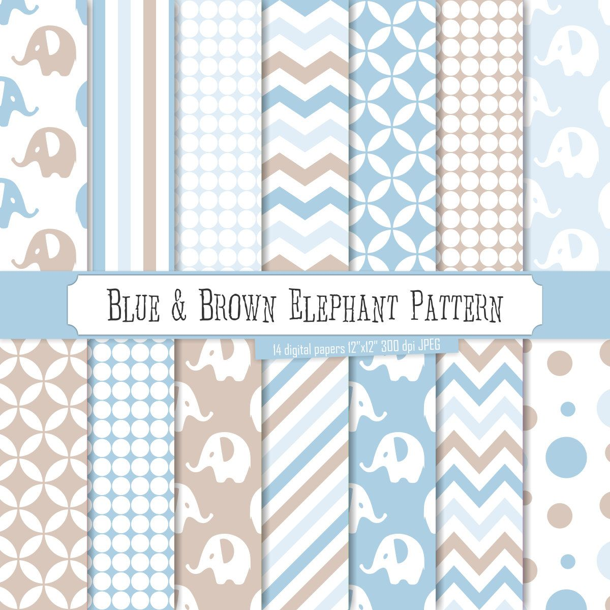 Buy 2 Get 1 Free Digital Paper Blue Brown Elephant Pattern Light Blue White Stripes Polka Dots Lines Chevron For Invite Seamless With Images Digital Paper