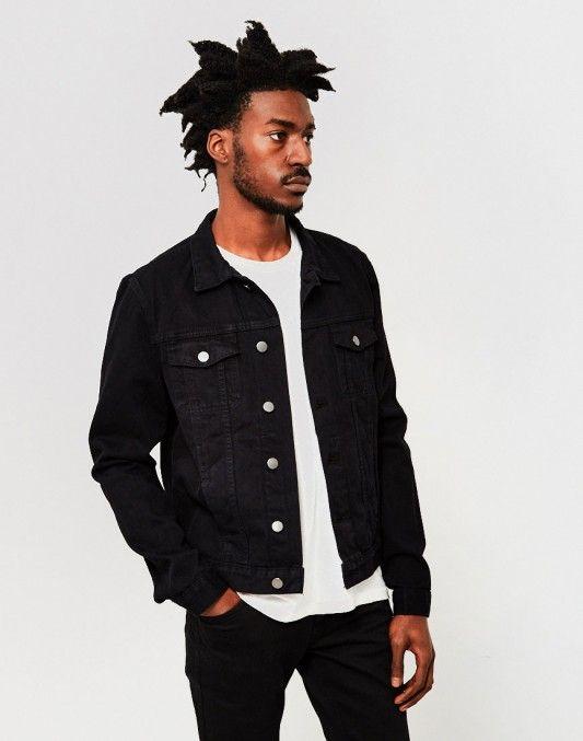 The Idle Man Denim Jacket Black Stylemadeeasy Black White