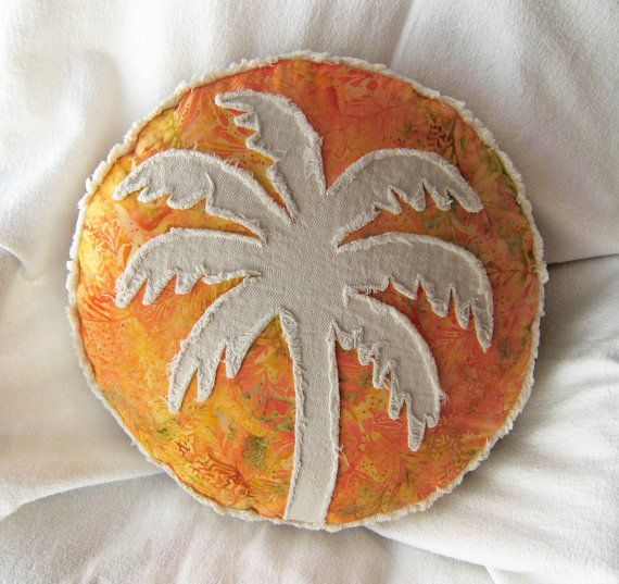 Palm tree pillow orange batik and distressed natural denim round boho pillow