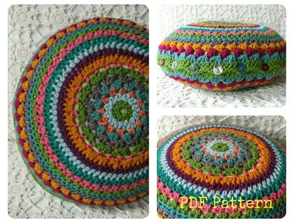 Crochet Cushion Cover Pattern Pdf Diy Round Cushion Cover By