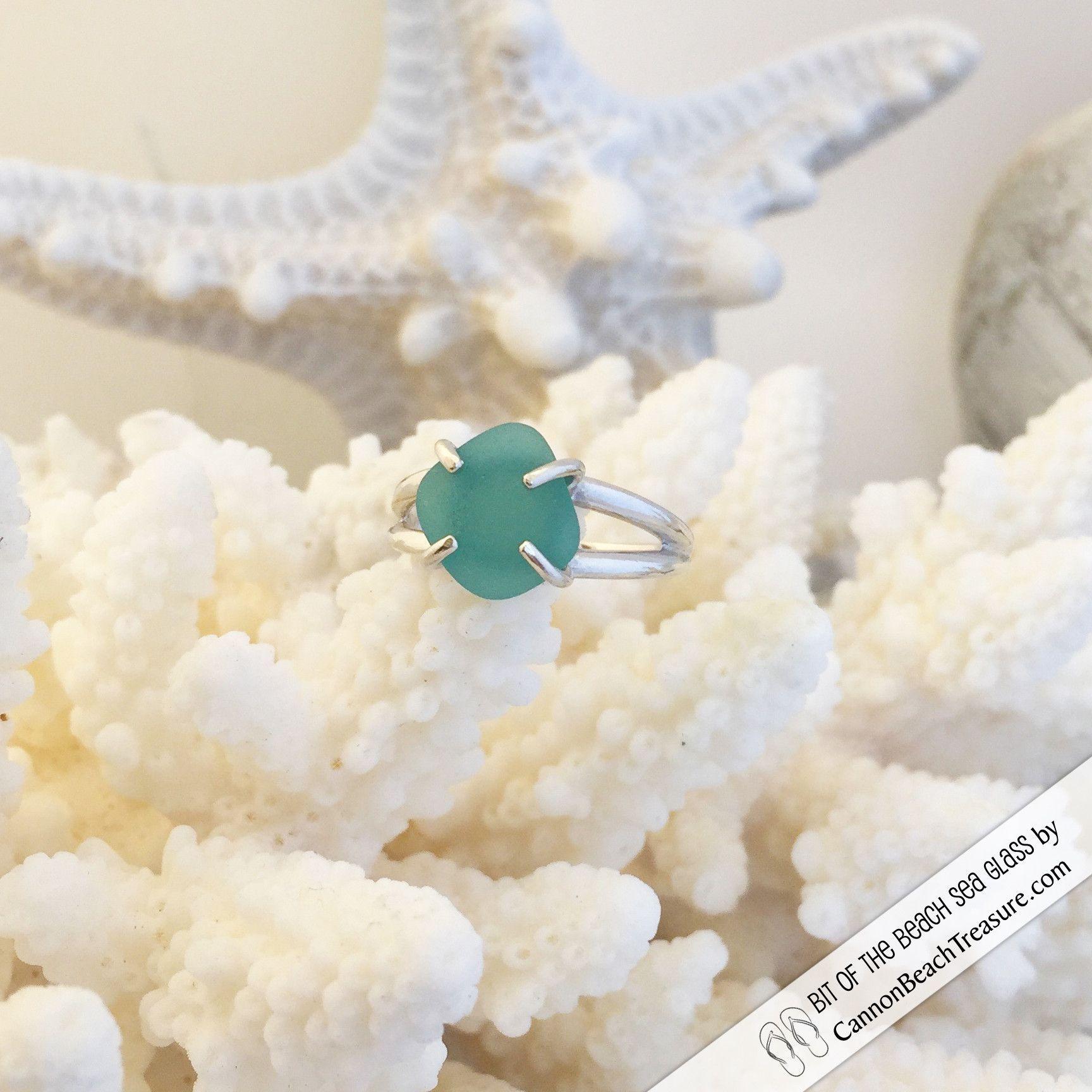 Aqua Diamond Sea Glass Sterling Silver Ring Size 8
