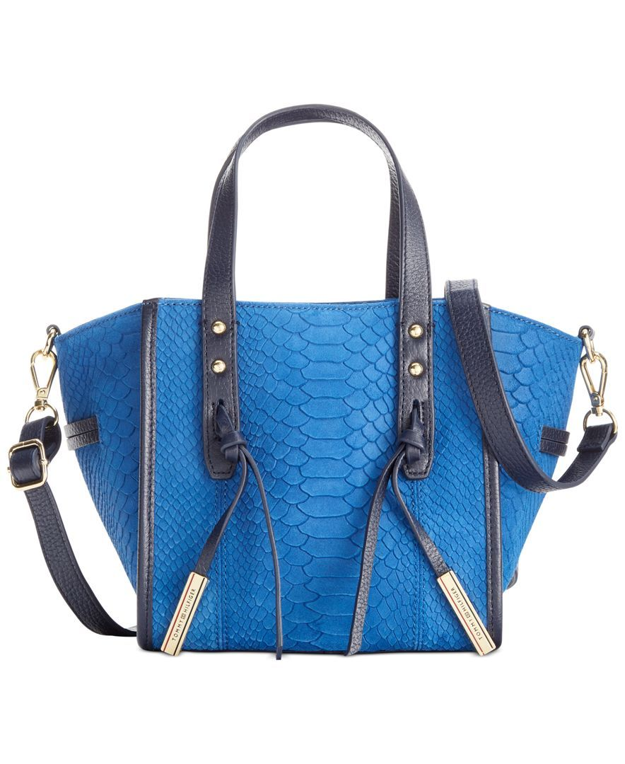 Tommy Hilfiger Emma Suede Python Mini Convertible Tote