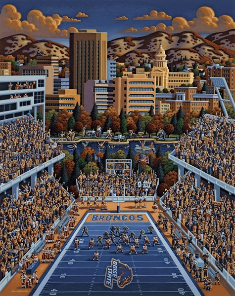 Boise State Football By Eric Dowdle Is Now Available As A Dowdle Puzzle At Www Dowdlepuzzles Com Boise State Football Boise State Broncos Football Boise State