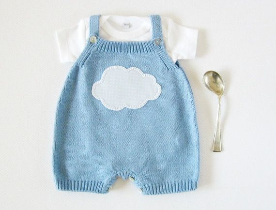 Ahh, how cute! --- Knitted overalls in sky blue with a cloud. 100% cotton. READY TO SHIP size newborn.