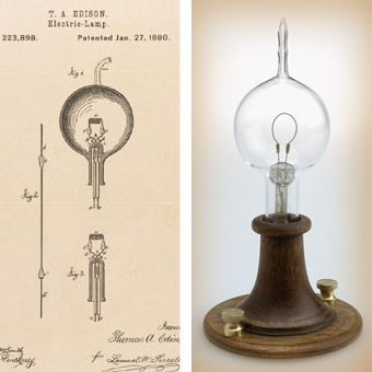 Left Thomas Edisons Patent Drawing For An Improvement In Electric Lamps Right