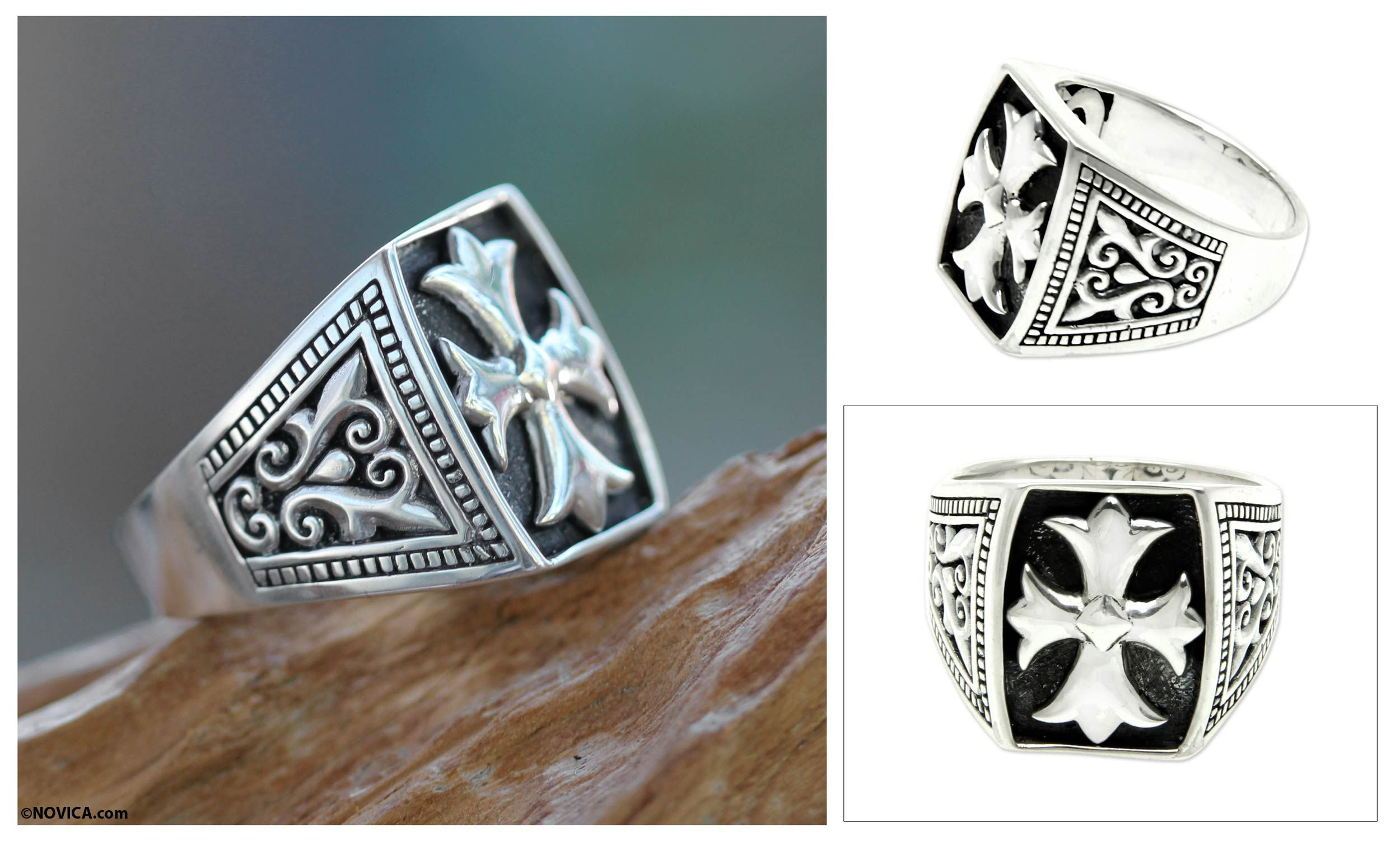 Cross Signet Sterling Silver Ring for Men Brave Knight