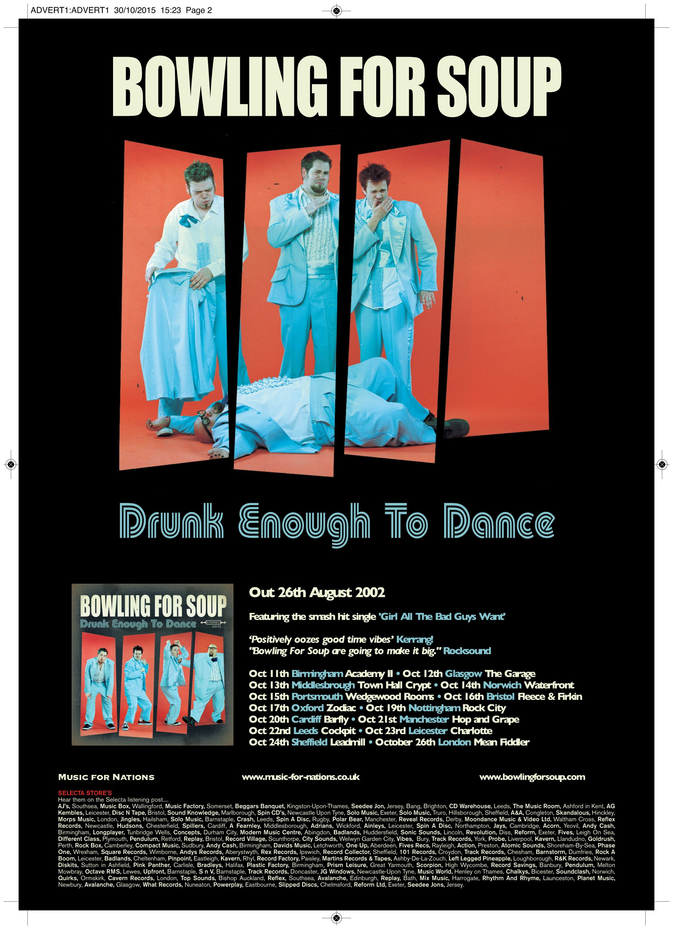 Bowling For Soup Drunk Enough To Dance Full Page Kerrang Ad