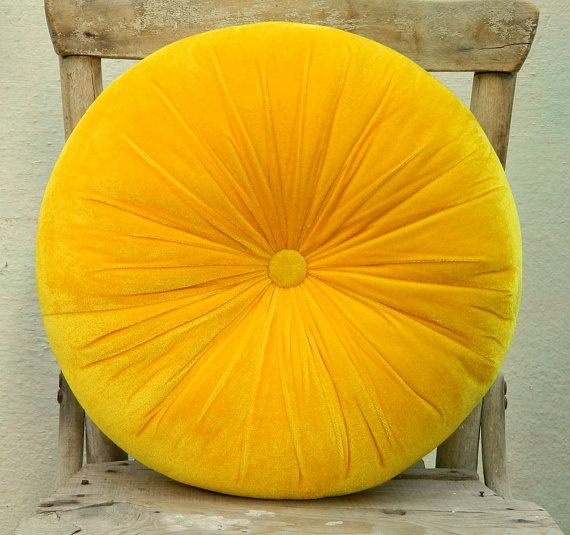 Sweet Yellow Velvet Round Pillow 16 By Originalboutique On