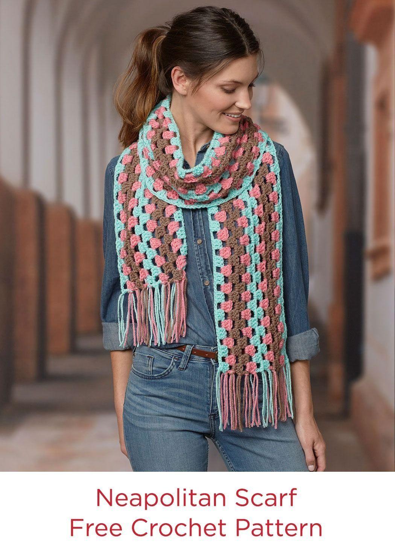 Neapolitan Scarf Free Crochet Pattern in Red Heart Super Saver Yarn ...