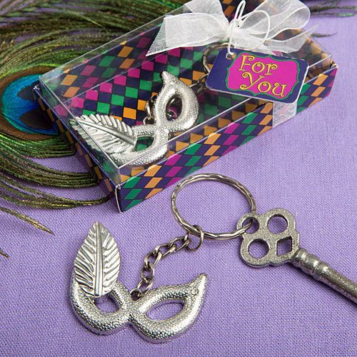 50 Mardi Gras Key Chain Mask Bridal Shower Wedding Favor Event Bulk Lot #Fashioncraft