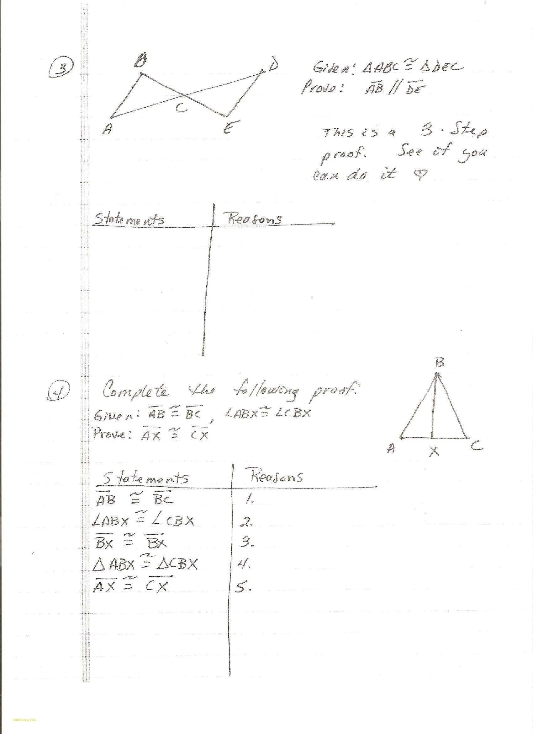 Congruent Triangles Worksheet with Answers Proving