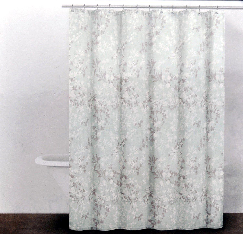 Amazon Com Dkny Delphine Cotton Fabric Shower Curtain Aqua Gray