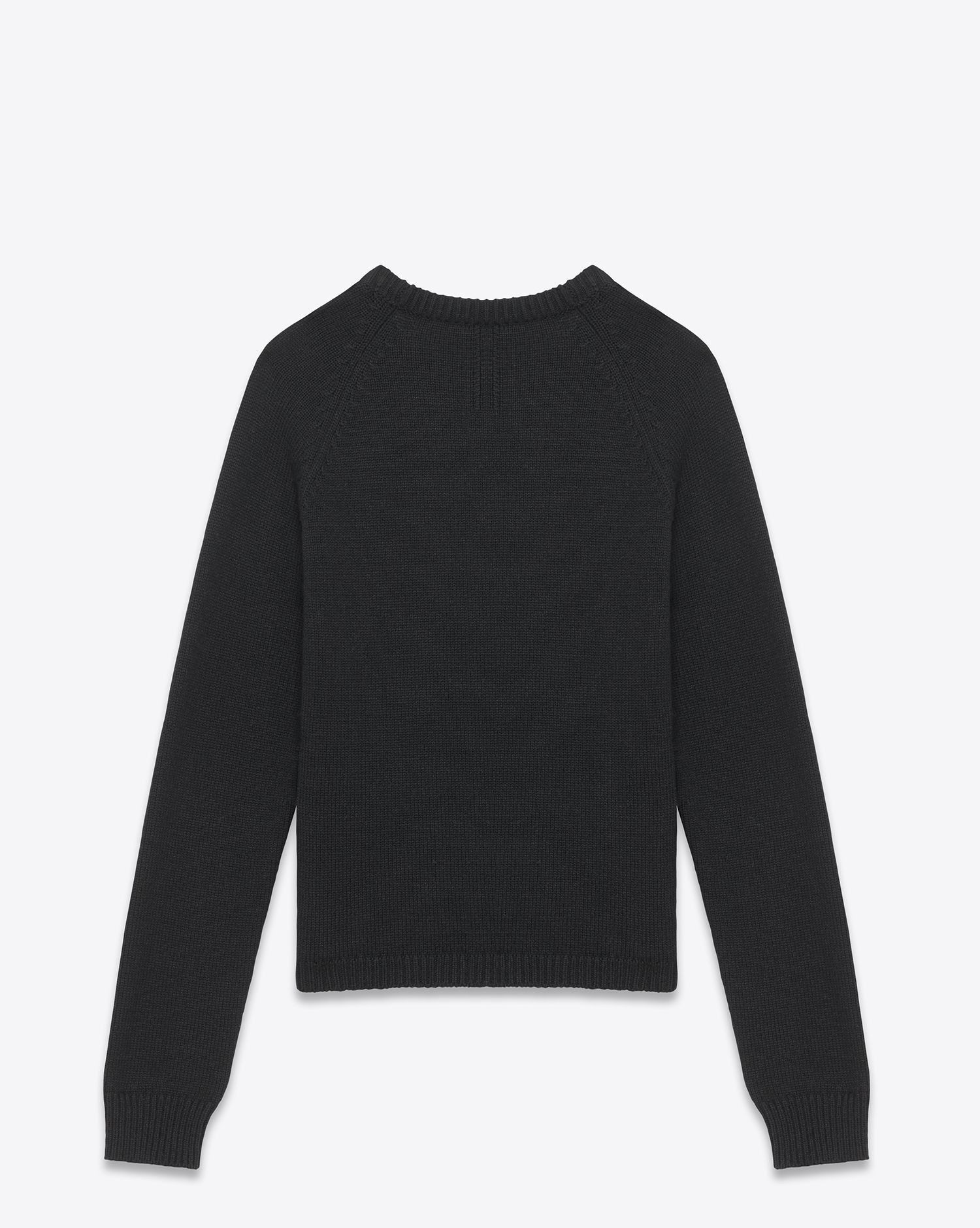 66ad1642585f76 Saint Laurent Classic Crewneck Sweater In Black Merino Wool note open  stitch at neck