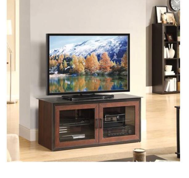 "TV Cabinet Console Stand Entertainment Center Mount Glass Dual Door Storage 52"" #WF #Contemporary"