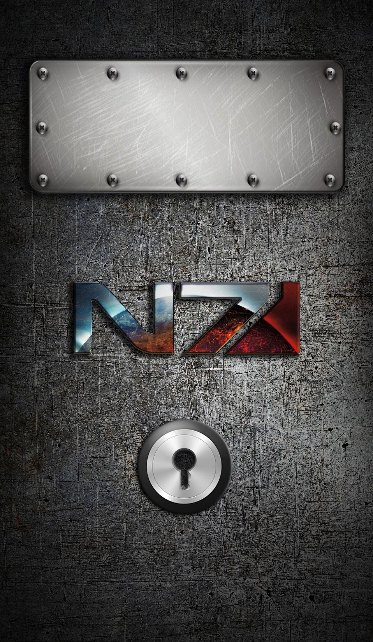 Mass Effect N7 IPhone Locked Wallpaper