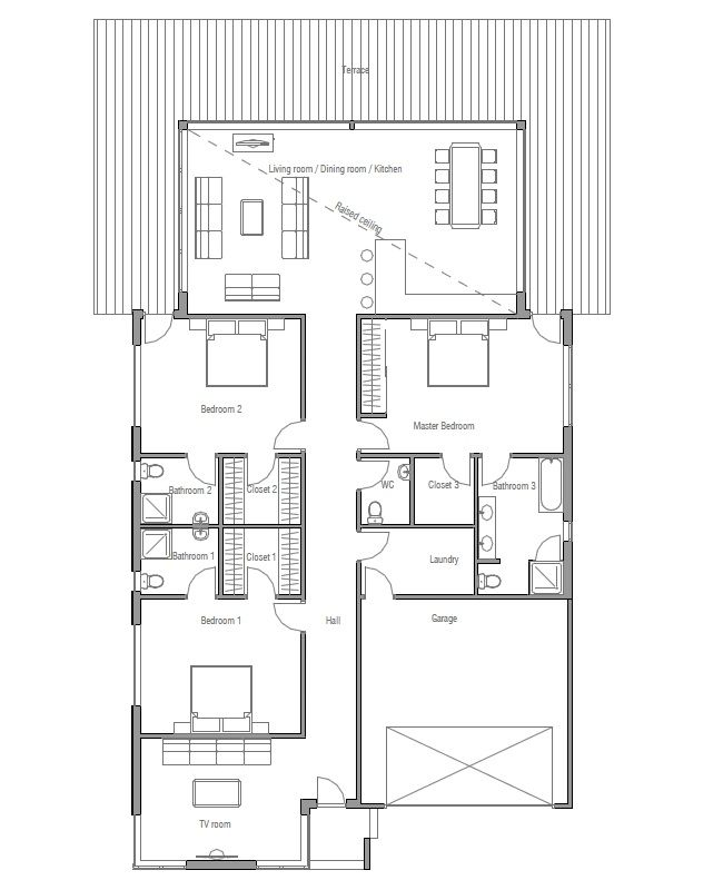 Contemporary home plan to narrow lot three bedrooms with separate baths abundance of natural also best           images on pinterest container rh
