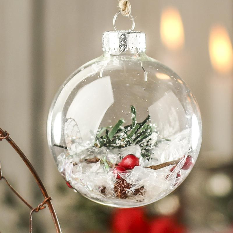 70 Mm Clear Glass Ball Ornaments Acrylic Fillable Ornaments