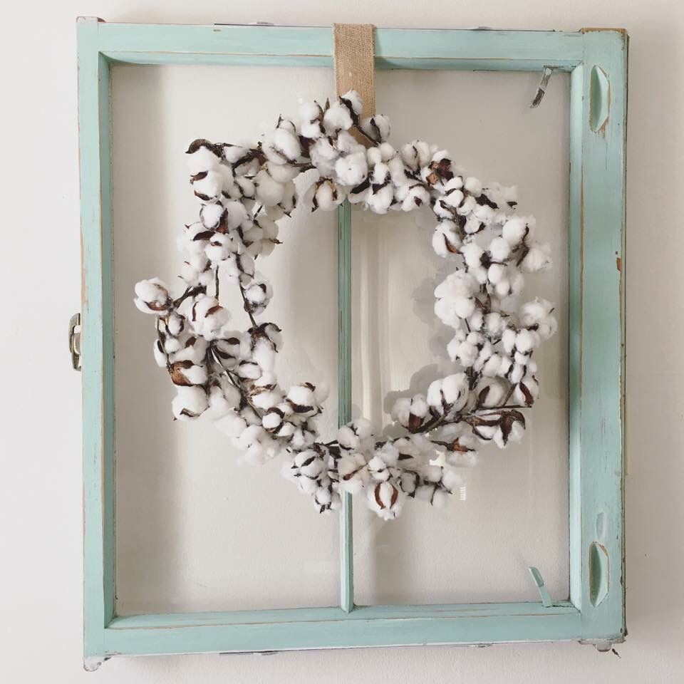 Cotton wreath and old window | Craft Ideas | Pinterest ...