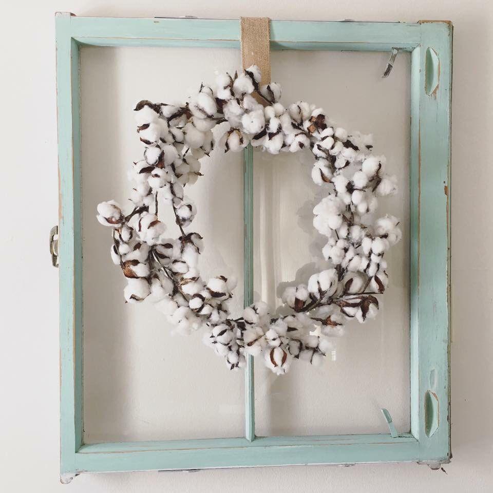Cotton wreath and old window | Craft Ideas | Pinterest ...