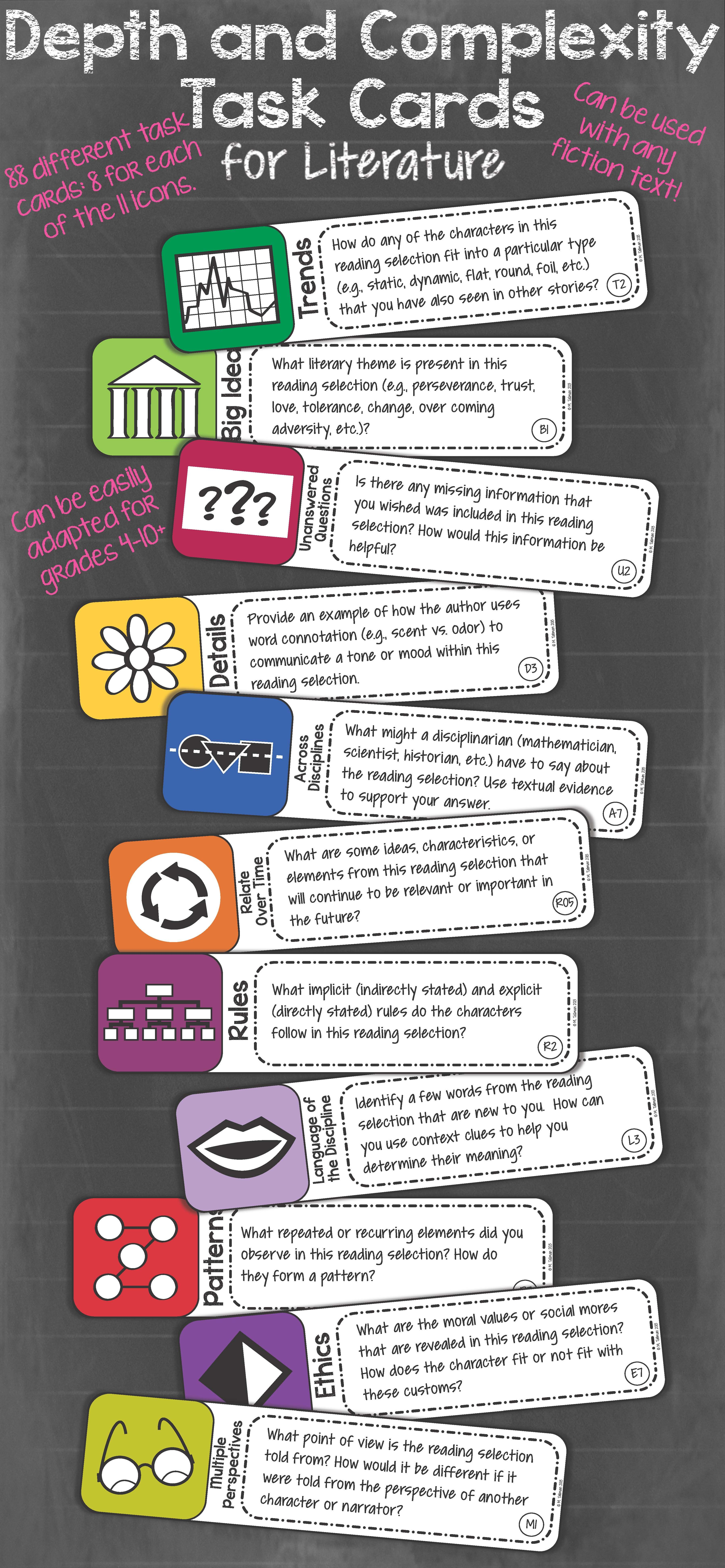 Depth And Complexity Critical Thinking Task Cards For Literature Common Core