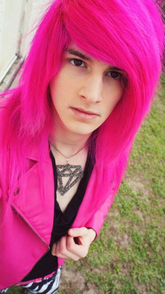 Omg His Hair Hot Pink Scene Hair Scene Boy Scene Hairstyles